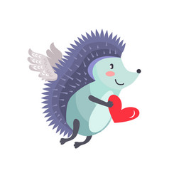 hedgehog flies on wings of love with heart in hand vector image vector image