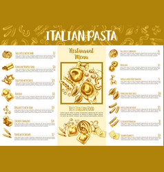 italian pasta menu template for restaurant design vector image vector image