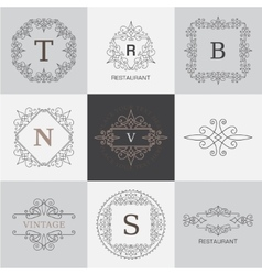 Monogram logo template with flourishes vector image vector image