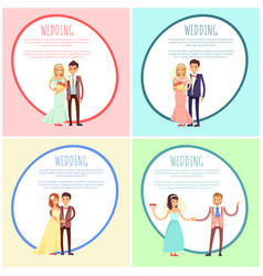 Newlyweds in wedding gowns and festive suits set vector