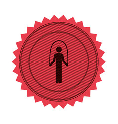 Pink circular seal with training in jumping rope vector