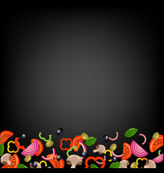 Pizza border with black background vector