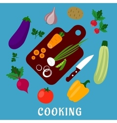 Process of cooking a vegetable salad flat style vector