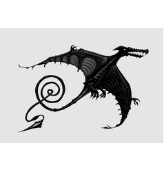 Pterodactyl silhouette isolated on white black vector