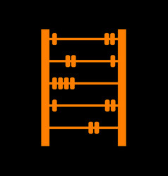 Retro abacus sign orange icon on black background vector