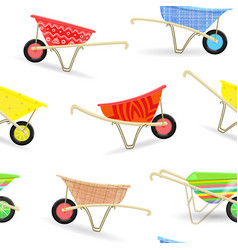 seamless texture with funny garden wheelbarrows vector image vector image