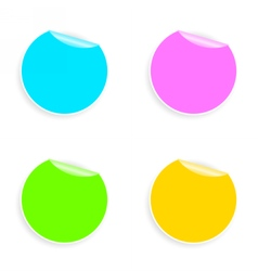 Set of multicolored round stickers vector