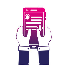 Silhouette hands with smartphone and whatsapp chat vector