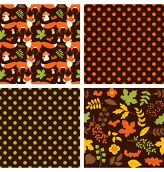 Woodland seamless pattern set vector