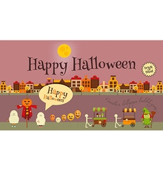 Halloween in town - greeting card vector