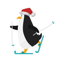 Flat style of skiing penguin in santa hat vector