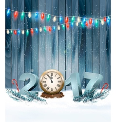 Happy new year 2017 background with a wooden sign vector
