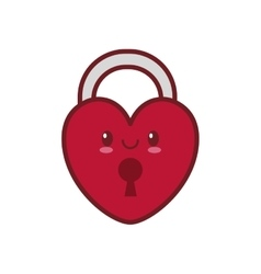 Kawaii love heart padlock valentine vector