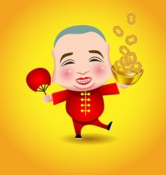Chinese New Year man with smile mask on yellow vector image