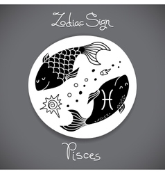 Pisces zodiac sign of horoscope circle emblem in vector