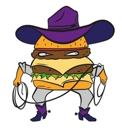 Funny cowboy burger cheeseburger in a hat and vector