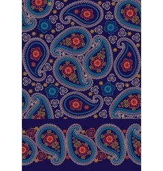 Paisley seamless pattern and border set vector