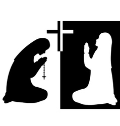 Praying nuns vector