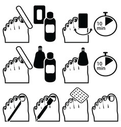 Gel pedicure removal icons vector