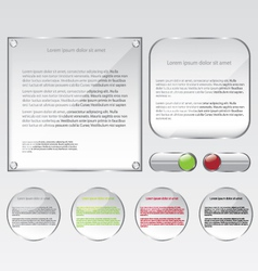 Glass web frame and buttons vector