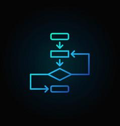 Algorithm outline blue icon on dark vector