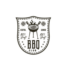 bbq club label in monochrome style invitation to vector image vector image