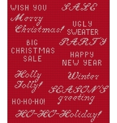 Christmas Knitted Phrase 1 vector image vector image