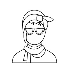 Cute hipster girl icon outline style vector image vector image