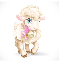 Cute little sheep isolated on a white background vector
