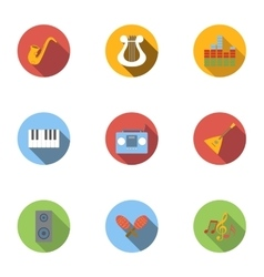 Device for music icons set flat style vector