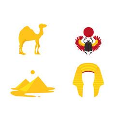 egypt symbols - crown camel pyramids scarab vector image