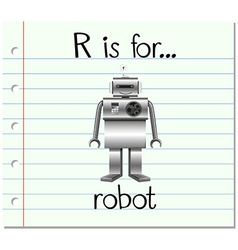 Flashcard letter r is for robot vector
