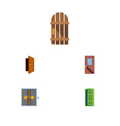 Flat icon door set of lobby door wooden fence vector