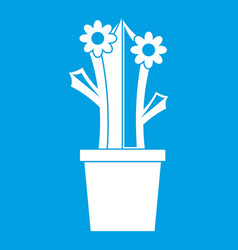 Flowering cactus icon white vector