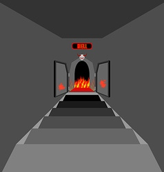 Gate to hell Open Fiery gate of purgatory Door to vector image