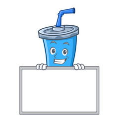 Grinning soda drink character cartoon with board vector