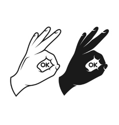 Hand making okay sign Black and white variants vector image