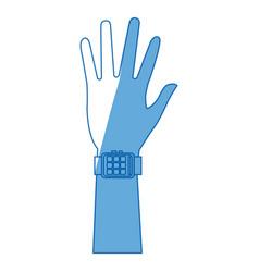 Hand man smart watch wearable technology vector