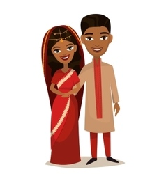 Happy indian young family couple vector