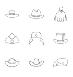 Hat collection icon set outline style vector