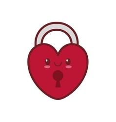 Kawaii love heart padlock valentine vector