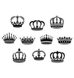 Medieval heraldic crowns set vector image vector image