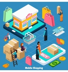 Mobile shopping isometric concept vector
