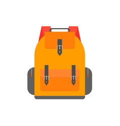 Orange back pack for study schoolbag vector
