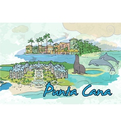 punta cana doodles vector image vector image