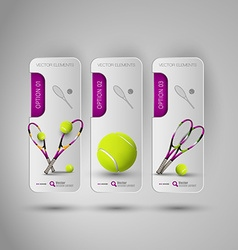 Realistic tennis objects on the gray business vector image vector image