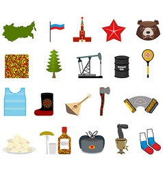 Russia set icons traditional objects of country vector