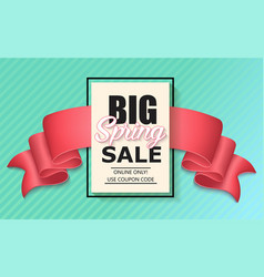 sale banner with pink realistic ribbon vector image vector image