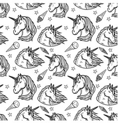 seamless pattern with unicorn heads and ice cream vector image vector image
