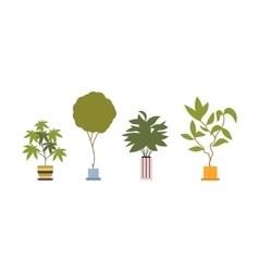 Set of four green floor plants in retro pots vector image